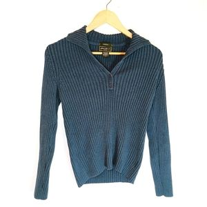 Eddie Bauer ribbed, collared knit sweater